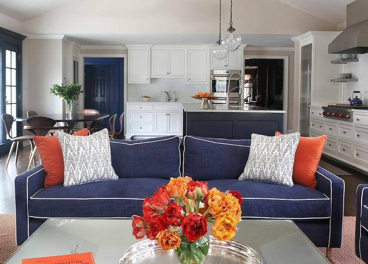 Orange blue living room for Blue and orange room