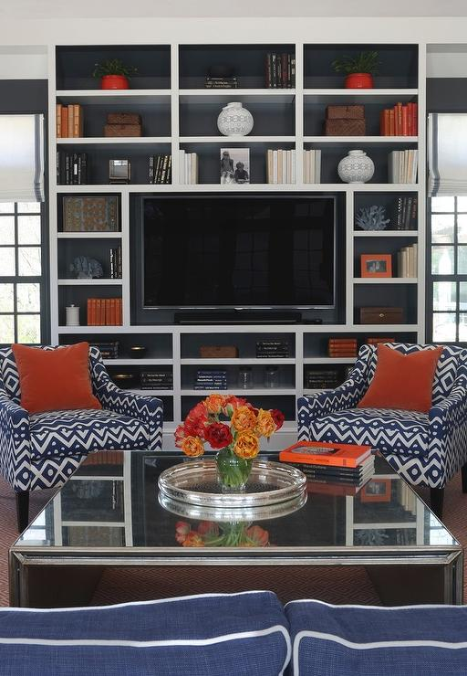 Blue And Orange Living Room Ideas: Blue And Orange Living Room With Built In Media Unit