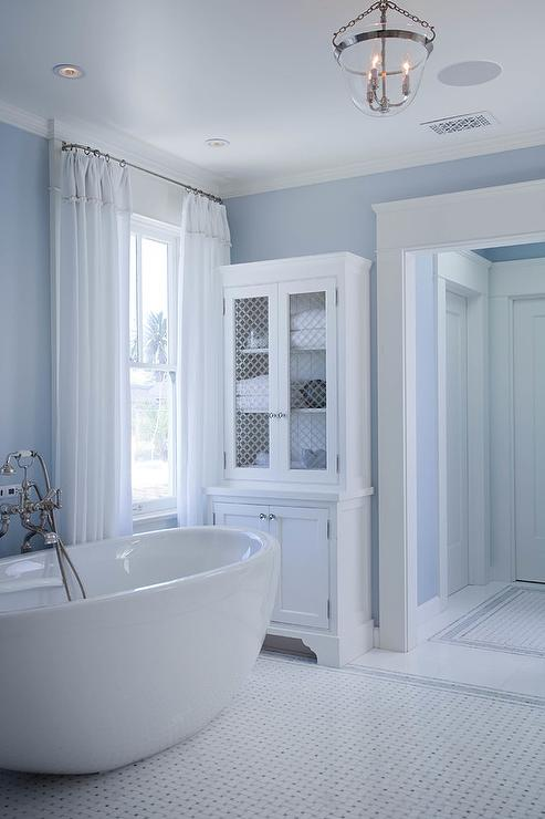 Blue Bathroom With Chicken Wire Linen Cabinet