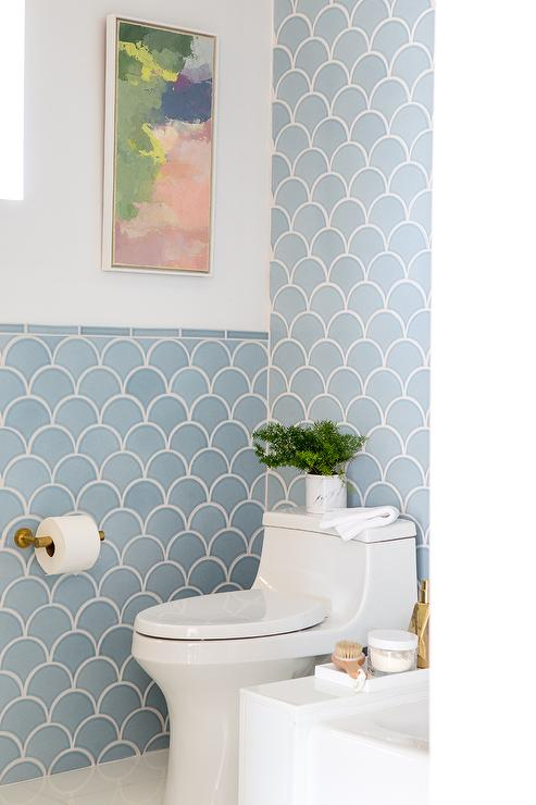 Blue Bathroom Scales: Blue Fish Scales Tiles In Bathroom