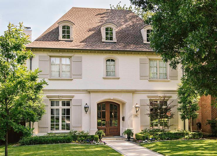 French Home with Gray Shutters - Transitional - Home Exterior