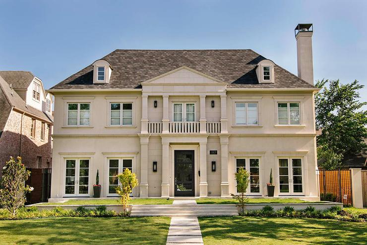 French Limestone Home Exterior With Balcony Transitional