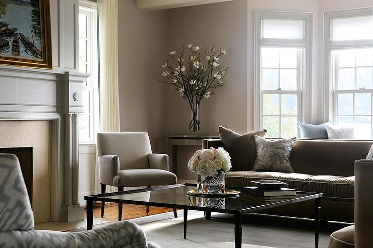 Gray and brown living room with glass coffee table for Grey and brown living room ideas