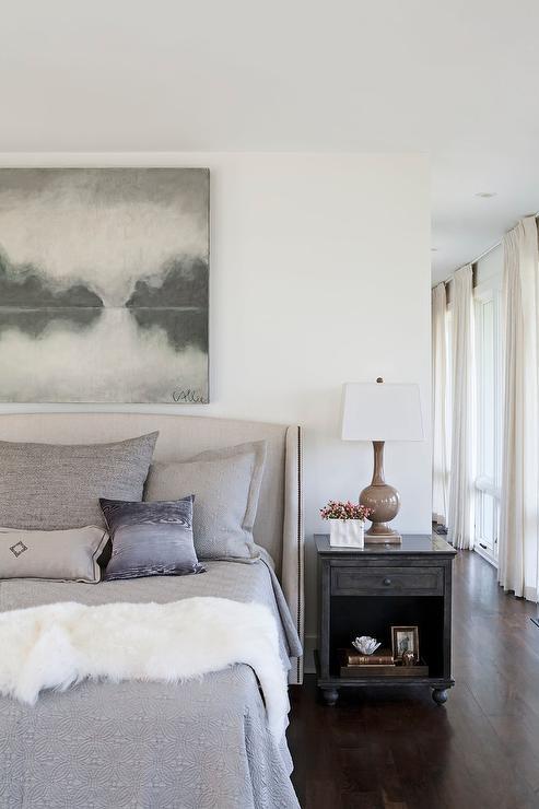 light gray linen wingback bed design ideas