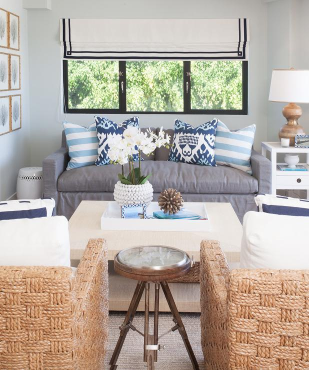 Seagrass Chairs With Grasscloth Fabric Wrapped Coffee Table