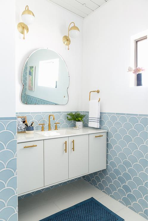 Blue and gold bathroom design contemporary bathroom for Powder blue bathroom ideas