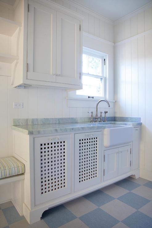 Shiplap Laundry Room With Blue Checkered Floor Cottage