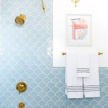 Blue fan shower tiles with gold faceted soap dispenser for Blue and gold bathroom sets