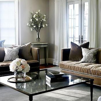 Brown Velvet Sofas With Gray Pillows