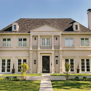 Stucco French Home With Balcony Transitional Home Exterior