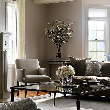 Great Gray And Brown Living Room With Glass Coffee Table View Full Size
