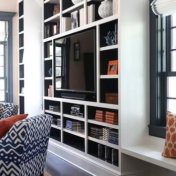 Back Of Built Ins Painted Navy Blue View Full Size. Blue And Orange Living  Room ...