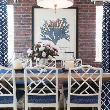 Blue Dining Room With Bamboo Chairs