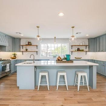 Powder Blue Kitchen Cabinets With Brass Hardware
