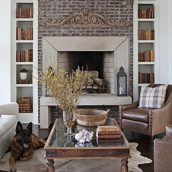 Brick Fireplace With Bookshelf Alcoves