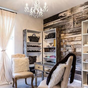 Ski Chalet Closet With Plank Wall