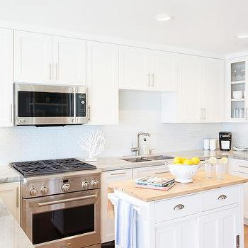 White Kitchen Cabinets With White Glass Tile Backsplash
