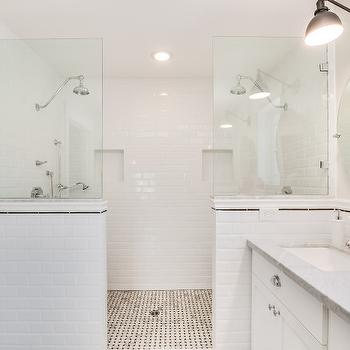 White Beveled Subway Tiled Pony Wall Transitional Bathroom