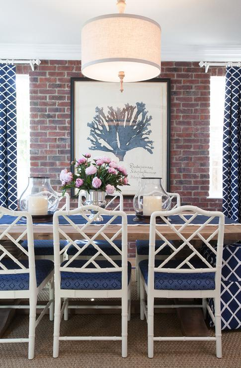 Blue Dining Room With Bamboo Chairs Part 76