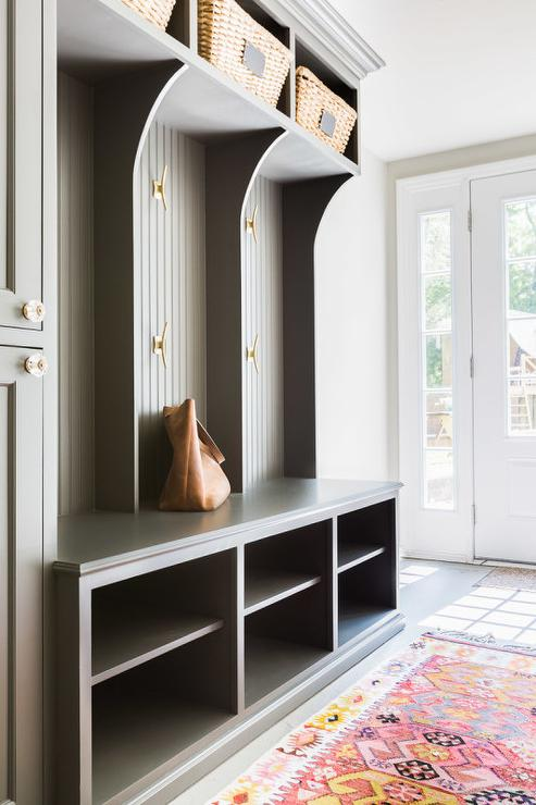 Alyssa Rosenheck Gray Beadboard Mudroom Lockers With Modern Brass Hooks