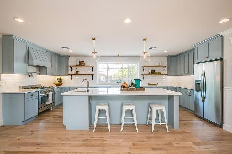 Powder Blue Kitchen Cabinets With Brass Hardware View Full Size