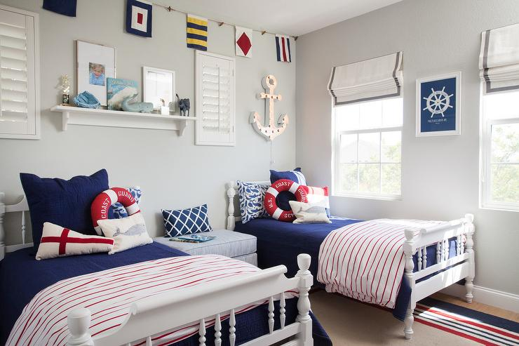 Gray and blue boys room with gray plank walls for Blue and white boys room
