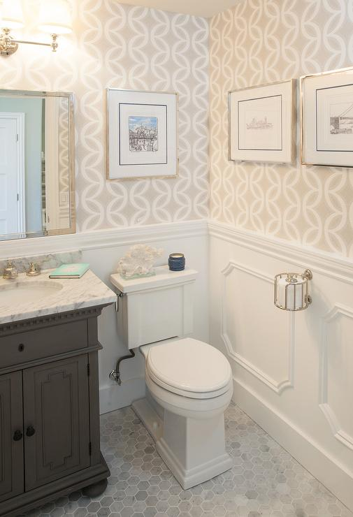 St james single vanity in powder room transitional for Gray bathroom wallpaper