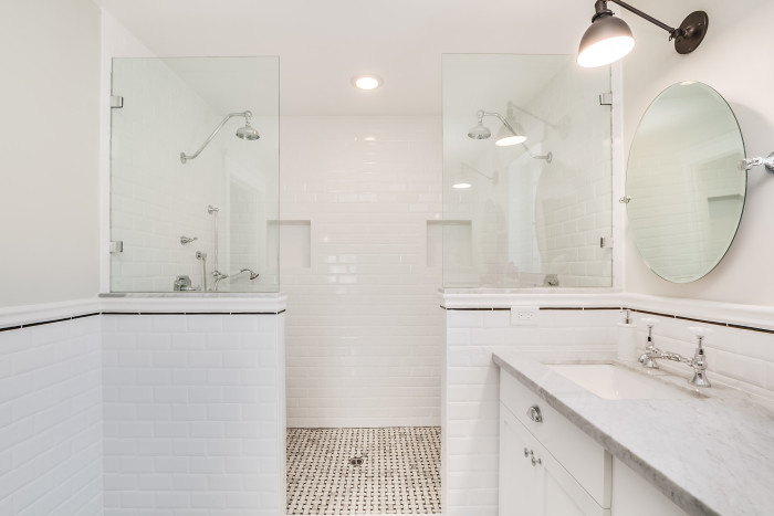 White Bathroom No Windows chic bathroom with black and white tiles - transitional - bathroom