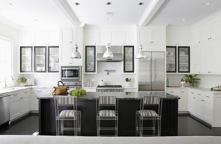 Black Kitchen Island With Black Marble Countertops Transitional Kitchen