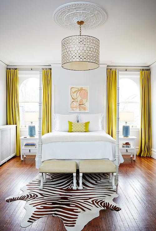 Attractive White Bedroom With Canary Yellow Curtains