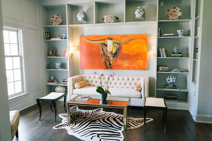 Built In Shelves Framing Cream Tufted Sofa Contemporary