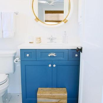 Blue Kids Washstand With Serena And Lily Montara Mirror
