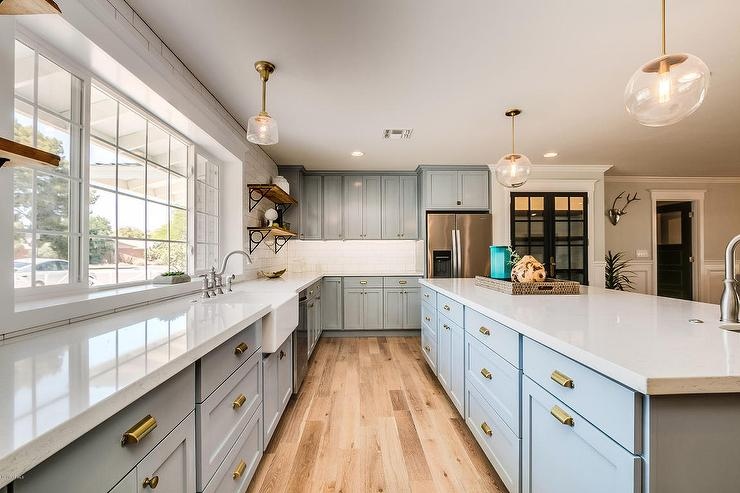 Powder Blue Kitchen Cabinets with Brass Hardware - Transitional ...