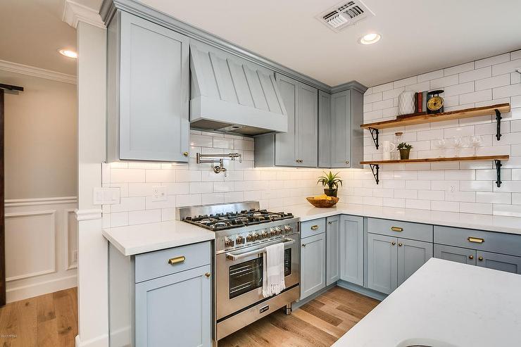 Powder Blue Kitchen Hood With Satin Nickel Pot Filler