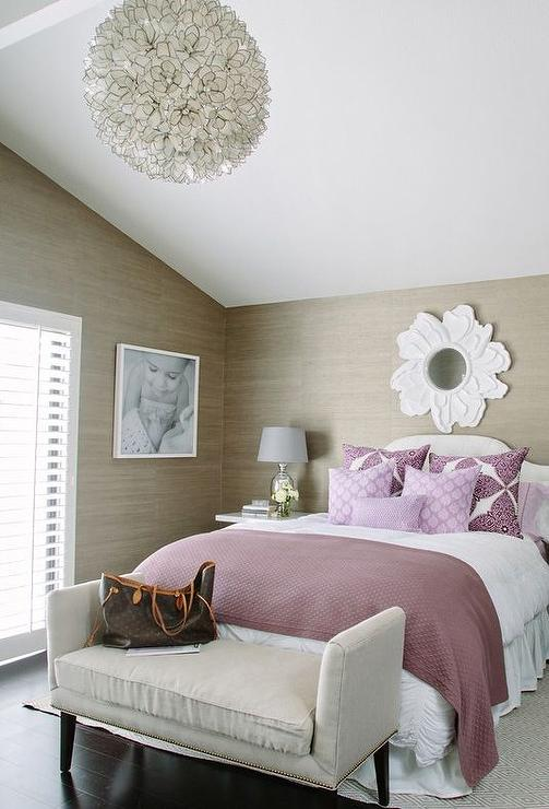 Very best Purple and Taupe Bedroom with Grasscloth - Contemporary - Bedroom ZU24