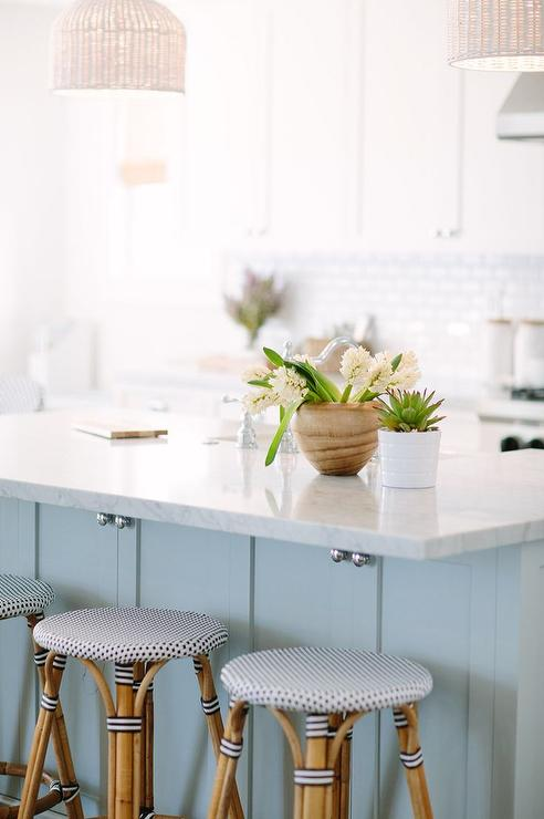 White Wicker Pendants With Backless French Bistro Stools