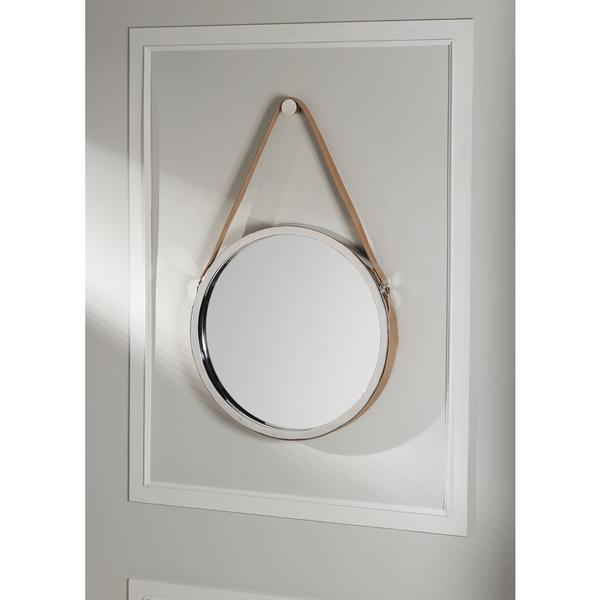 Wellington Leather Frame Mirror in Silver and Natural