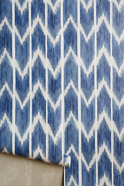Textured Ikat Wallpaper In Blue And White