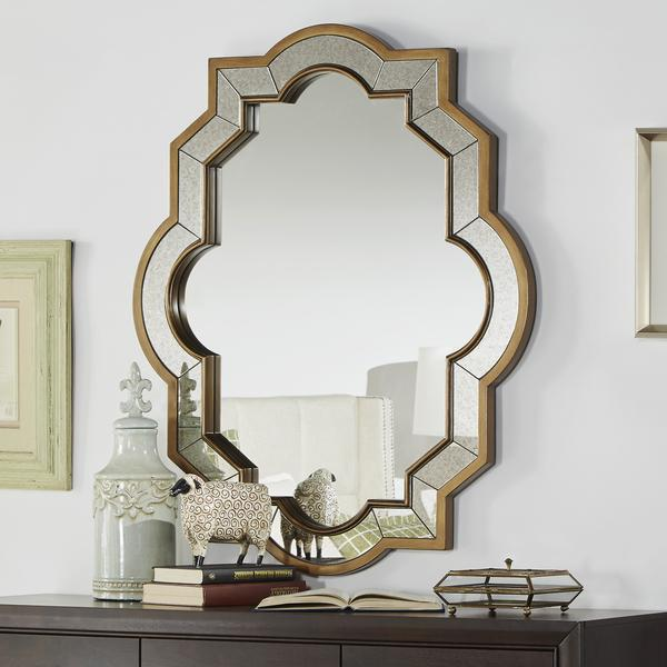 Paisley Oval Quatrefoil Brown Frame Accent Wall Mirror
