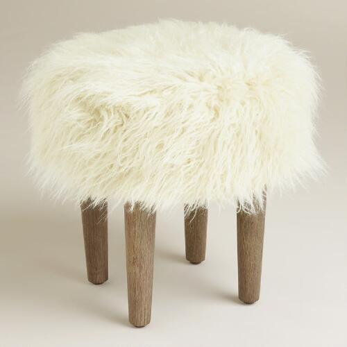 Awesome Vanity White Fluffy Stool Furry Stool A Beautiful Mess Ive Pabps2019 Chair Design Images Pabps2019Com