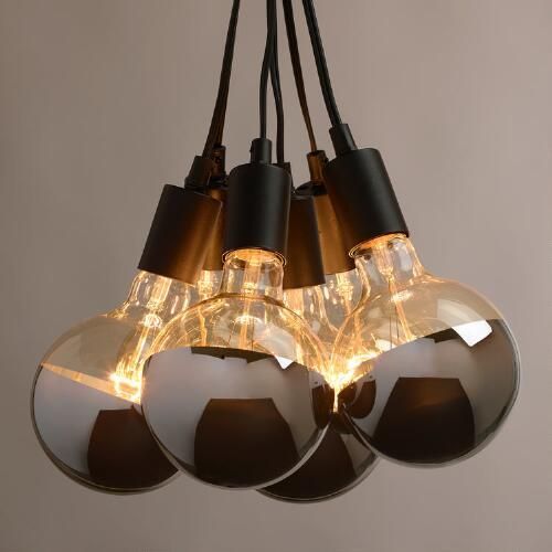 Chrome Tip Six Bulb Cluster Black Pendant Lamp