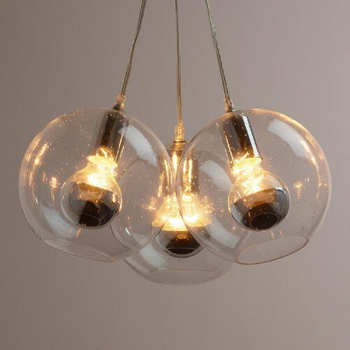 Seeded Glass Chrome Tip Three Bulb Cluster Pendant Lamp