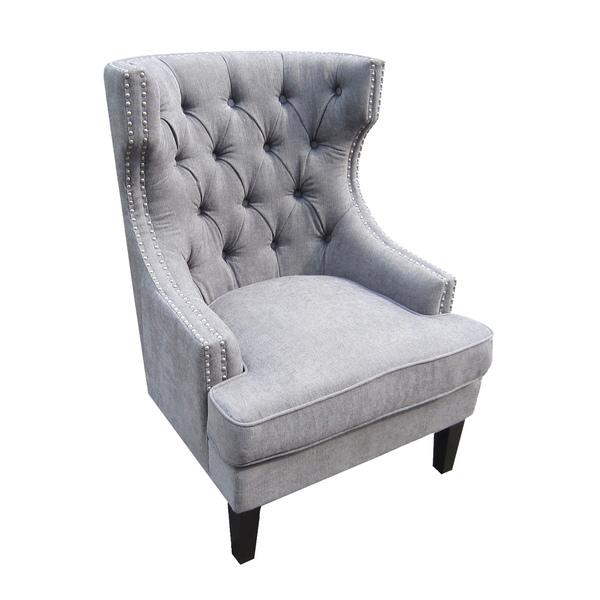 Tufted Back Gravel Upholstered Occasional Grey Chair