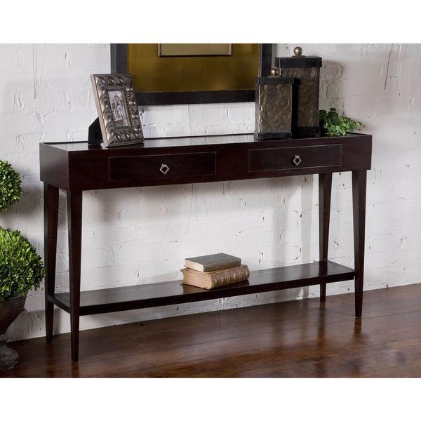 uttermost antero console table in brown. Black Bedroom Furniture Sets. Home Design Ideas