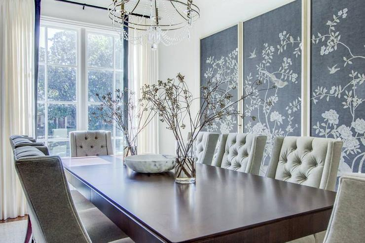 Charcoal Gray Chinoiserie Fabric Art Panels Transitional
