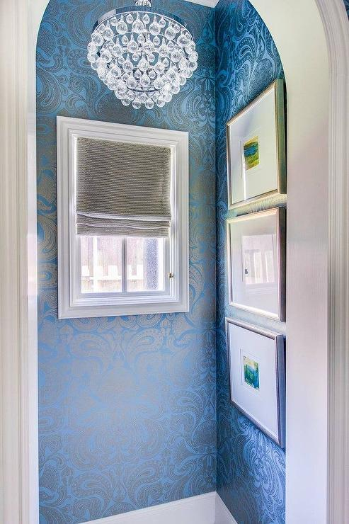 Blue and silver damask wallpaper transitional bathroom for Blue and silver bathroom ideas