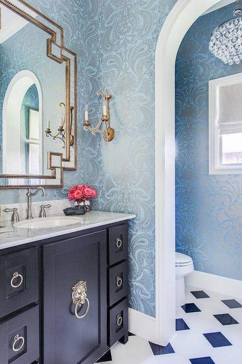 Blue damask wallpaper with black vanity transitional for Blue bathroom wallpaper