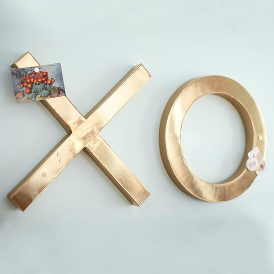 Wall Art Decor Gold : Emily and meritt gold xoxo wall decor set of two