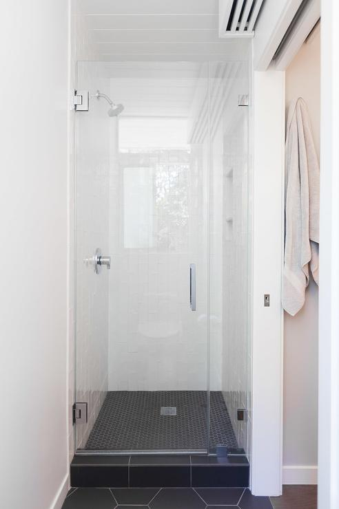 White Shower With Black Hex Tile Shower Floor