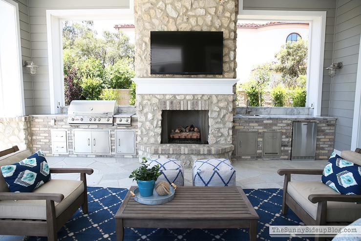 Chic Covered Patio Features Restoration Hardware Leagrave Classic Lounge  Chairs And Sofa Lined With Blue And Turquoise Ikat Pillows Facing A  Leagrave Coffee ...